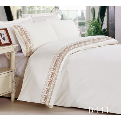 4 pcs poly/cotton T/C embroidery lace flat sheet pillow case fitted sheet