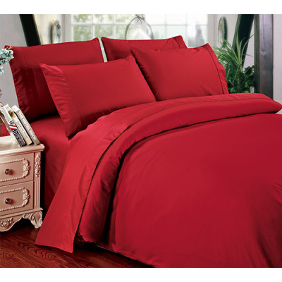 solid color cotton bedding set include duvet cover flat sheet and pillowsham