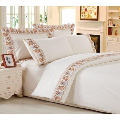 KOSMOS Vintage embroidery floral pattern bed sheet set