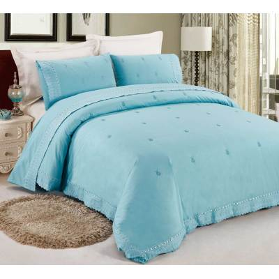 Kosmos water blue duvet cover pillow case with lace hem
