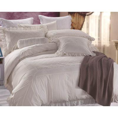 KOSMOS hot sale white 100% cotton embroidery comforter bedding set