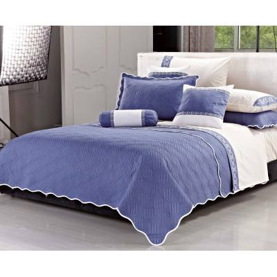 KOSMOS 3pcs solid color embroidered king size cotton quilt coverlet bedspread
