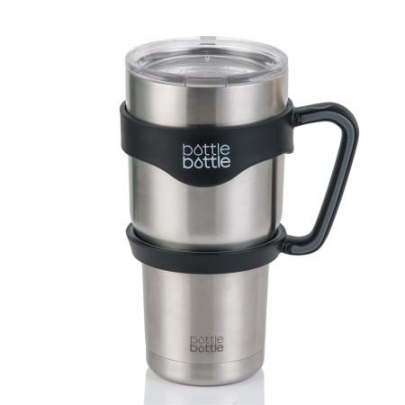 BottleBottle 30oz Handle for YETI Rambler Tumbler, RTIC, Ozark Trail, SIC Coffee Mug, Black & Gray