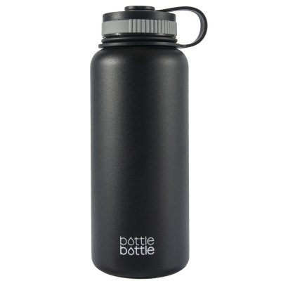 32oz Wide Mouth Double Wall Vacuum Stainless Steel Water Flask , Night Black