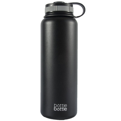 40oz Wide Mouth Double Wall Vacuum Stainless Steel Water Flask , Night Black