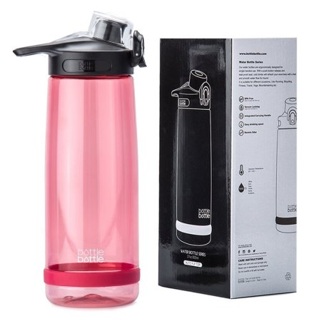 Bottlebottle Plastic Sports Water Bottle BPA Free Leak Proof Wide Mouth with Flip Lid for Camping and Exercise, 27oz