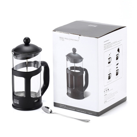 Bottlebottle 8 cup Borosilicate Glass French Press Coffee Maker with Spoon,1 L/ 34OZ - Black