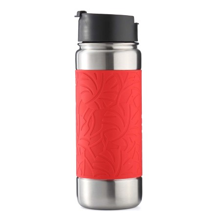 Bottlebottle Vacuum Insulated Stainless Steel Water Bottle, 18oz Leak Proof Coffee Travel Mug Thermo Flask with Silicone Sleeve, Wide Mouth with BPA Free Flip Top Lid