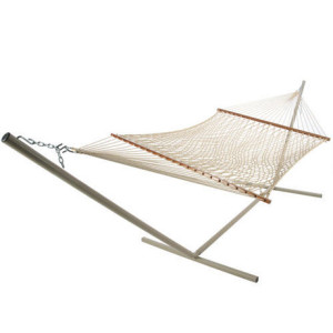 Deluxe Taupe Polyester Rope Hammock