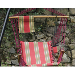 Red Stripe Quilted Hammock Chairs