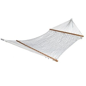 Outdoor Hammocks Cotton Rope Double Hammock with Wood Spreader,450 Pounds Capacity