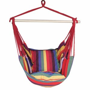 Outdoor Hanging Rope Chair Portable Porch Seat Hammock Swing Chair With Two Cushions