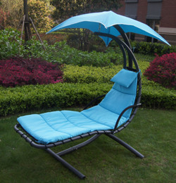 Patio Hanging Chaise Lounger Chair With Umbrella Garden Air Porch Arc Stand Floating Swing Hammock Chair
