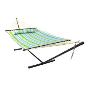 outdoor camping 15ft durable steel hammock stand with quilted cotton hammock set