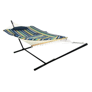 Outdoor Cotton Rope Hammock With 12ft Steel Hammock Stand Set,Pillow and Pad included