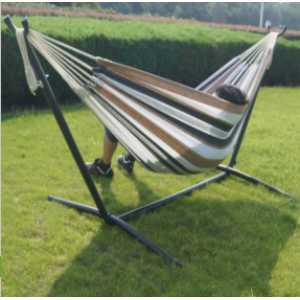 Outdoor Camping Double Hammock with Space Saving Steel Stand Includes Portable Carrying Bag