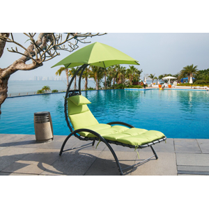 Arc Curved Hammock Dream Chaise Lounge Chair Outdoor Patio Pool Furniture with Sun Shade - Green Apple