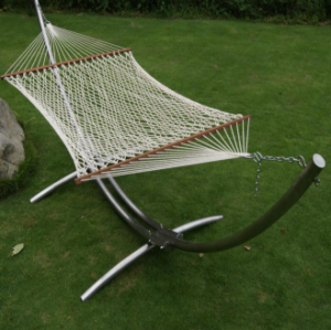 Outdoor Folding Beach Metal Hammock Stand with Cotton Rope Hammock