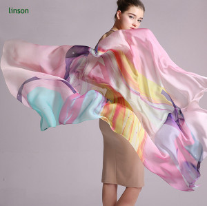100% Pure Silk Chiffon Scarf/Long Size Custom Printed Scarves Shawls