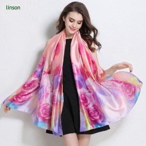 Cheap Floral Printed Silk Scarf/Soft Feeling And Silky Handfeel Satin Scarf/Beautiful Designs Customized Scarf