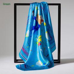 Custom Digital Printing 100% Silk Satin Scarf/90*90cm Size Bright Color Square Scarf