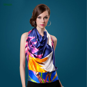 China Manufacturer Supplies Digital Printed Long Silk Scarves With Cheap Price