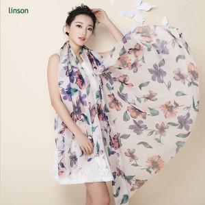 Flower Printed Silk Scarf/100% Pure Silk Chiffon Scarf/Perfect Quality Sheer Fabric For Making Beautiful Scarf