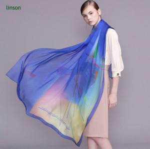 100% Silk Chiffon Scarf Digital Printing/6mm Chiffon Soft Sheer Fashion Scarf With Beautiful Color