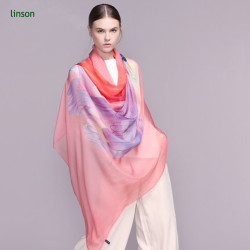 Feather Print Silk Chiffon Scarf/Plain Square Silk Chiffon Scarf/Custom Size Silk Chiffon Scarf