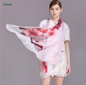 2017 Fashion Style Silk Chiffon Scarf/Elegant Printed Thin And Soft Chiffon Scarf