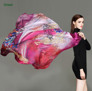 Large Square Satin Scarf/100% Silk Square Scarf For Woman Fancy Printed Satin Silk Wholesale