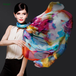 Women Simply Style Colorful Digital Print Thin Square 100% Silk Scarf