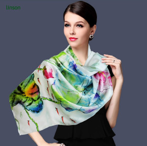 Digital Print Custom Design Manufacturing 100% Wholesale China Scarf Silk Scarf