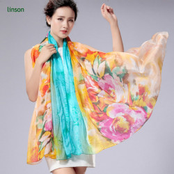 Wholesale Cheap Price Custom Flower Print Ladies Silk Chiffon Scarf