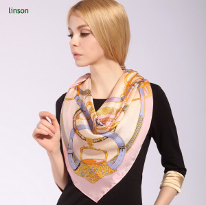 Custom Square Size 12mm Silk Printed Scarf For Office Lady