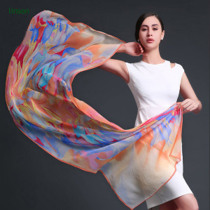 Fashion Colorful Long Scarf/Custom Design 100% Pure Silk Chiffon Scarf/Digital Printed Silk Scarves