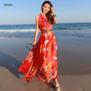 Custom Bright Color Printed On Silk Chiffon Fabric For Long Dress