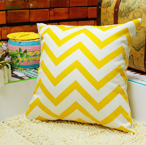 Cheap Yellow Chevron Square Size Cushion Cover Car Cushion Cover Sofa Cushion Cover