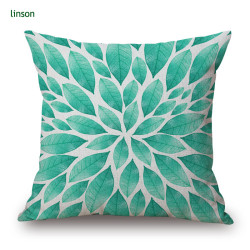 Custom Leaves Design Digital Printed Cotton Linen Cushion Cover