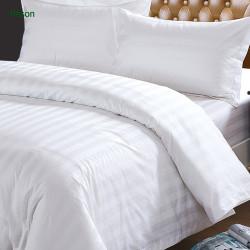 40S White Cotton Sateen Bedding Sets/3cm Satin Stripe Hotel Bedding Sets/300T 100% Cotton Hotel Bed Sheet Sets