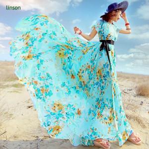 Colorful Design Custom Screen Printed Long Dress Fabric