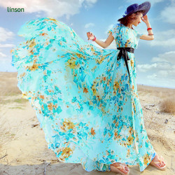 Colorful Design Custom Screen Printed Long Dress Fabric