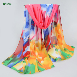 Wholesale Screen Printed Polyester Chiffon Scarf With Bright Color Cheap Price