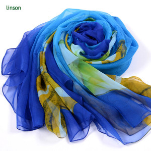 Scarf Manufacturer Supplies 100% Polyester Chiffon Scarf Printed Scarf