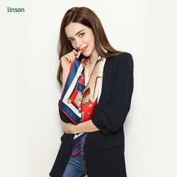 Custom hand roll printing pure silk scarf