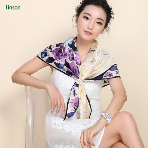2017 spring 135*135cm or customized printed silk satin square scarf
