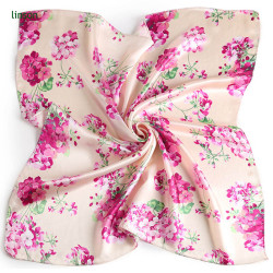 Pink flower printing square scarf for young girl