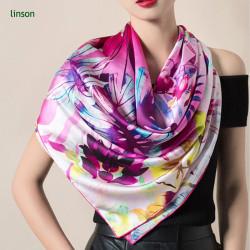 Chinese beautiful purple elegant women custom logo digital printing silk scarf
