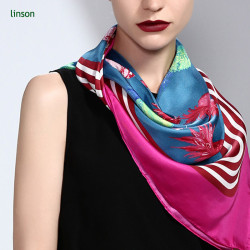 Twill oem digital custom design printing square silk scarf from china