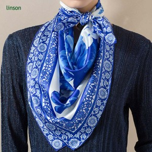 Twill  digital custom design printing square silk scarf